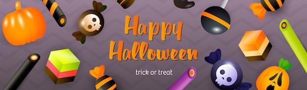 Iscrizione di halloween felice con lecca-lecca, torte e dolci