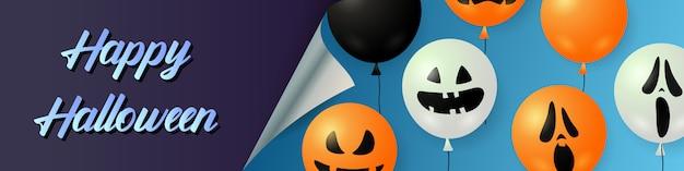 Iscrizione di halloween felice con palloncini di zucca