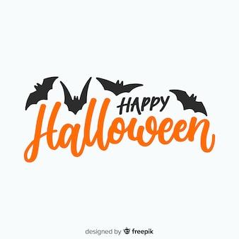 Iscrizione di halloween felice con pipistrelli
