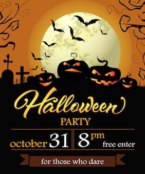 Iscrizione di halloween party con data, zucche e luna