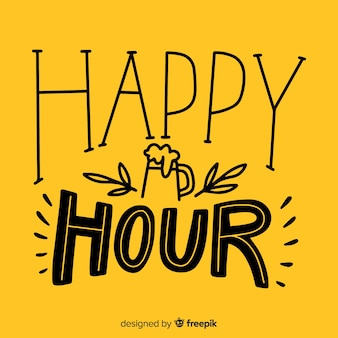 Iscrizione di happy hour design piatto luminoso con icone