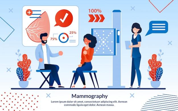 Iscrizione di mammografia informativo volantino piatta.