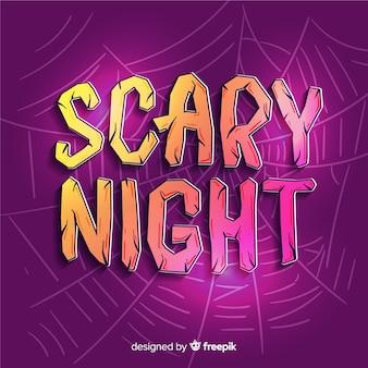 Iscrizione di notte spaventosa con ragnatela