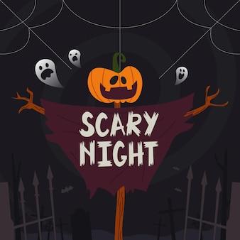 Iscrizione di notte spaventosa con spaventapasseri