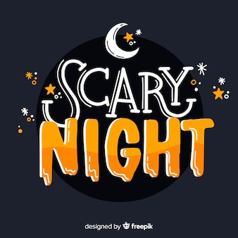 Iscrizione di notte spaventosa di halloween