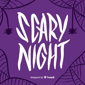 Iscrizione di notte spaventosa viola con ragnatela