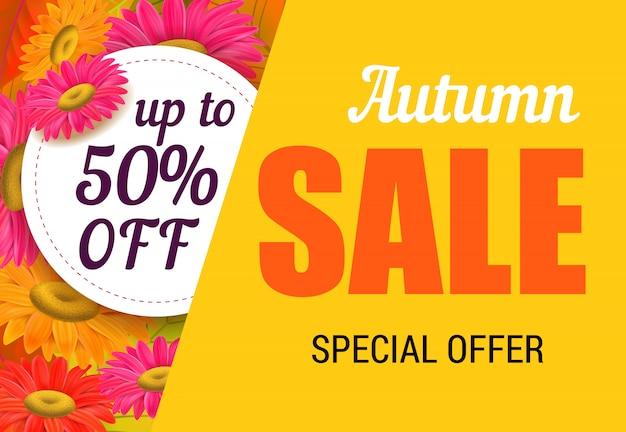 Iscrizione di vendita autunno con fiori luminosi. offerta autunnale o pubblicità pubblicitaria