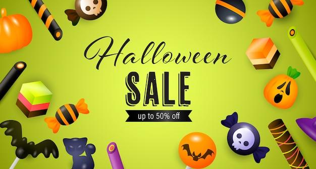 Iscrizione di vendita di halloween con caramelle, torte e dolci