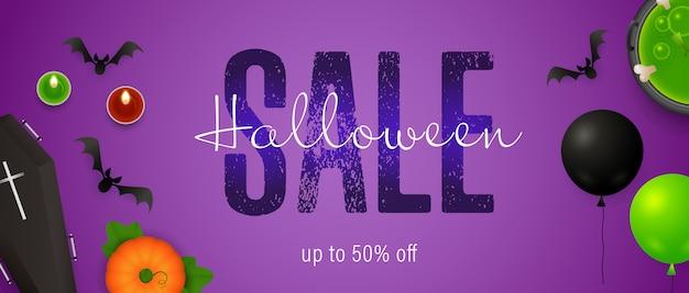 Iscrizione di vendita di halloween con palloncini e pozione