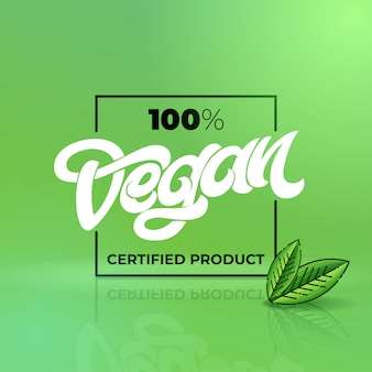 Iscrizione disegnata a mano 100 prodotto certificato vegano con cornice quadrata. lettere scritte a mano per ristorante, menu bar. elementi per etichette, loghi, badge, adesivi o icone. illustrazione.