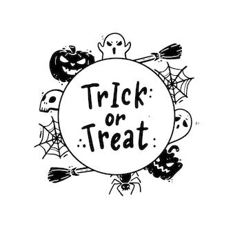 Iscrizione disegnata a mano citazione di halloween con elementi di doodle. illustrazione.