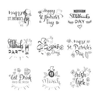 Iscrizione disegnata a mano per felice giorno di san patrizio, set di adesivi festa irlandese