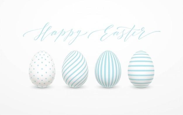 Iscrizione felice dell'uovo di pasqua sul con l'uovo bianco e blu.