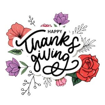 Iscrizione felice della mano della spazzola di ringraziamento, isolata. illustrazione di calligrafia