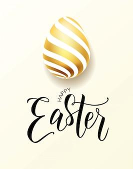 Iscrizione felice della mano di pasqua con l'uovo sembrante realistico dell'oro.