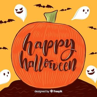 Iscrizione felice della zucca di halloween del primo piano
