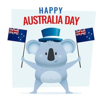 Iscrizione felice di giorno dell'australia con il koala sveglio