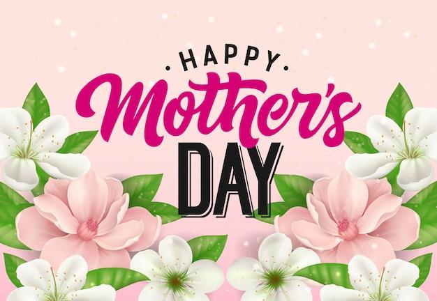 Iscrizione felice di giorno di madre con i fiori su fondo rosa. biglietto di auguri per la festa della mamma