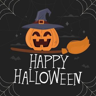 Iscrizione felice di halloween con la zucca e la scopa