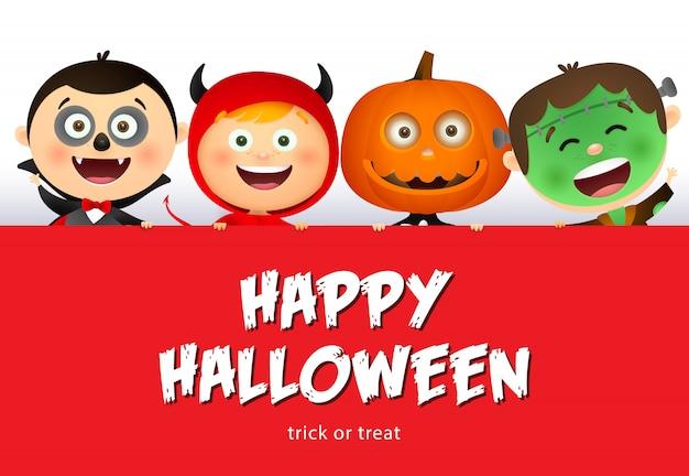 Iscrizione felice di halloween e bambini sorridenti in costumi dei mostri