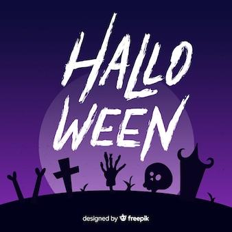 Iscrizione felice di halloween nel cimitero