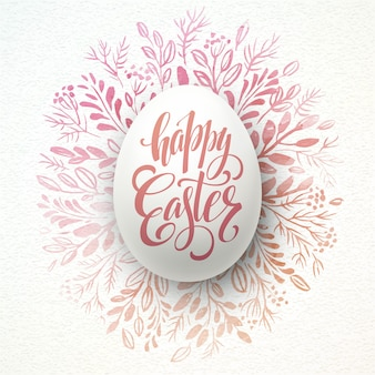 Iscrizione felice di pasqua sulla corona dell'acquerello con le uova