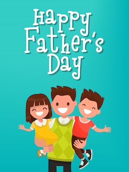 Iscrizione felice festa del papà. papà con biglietto di auguri per bambini