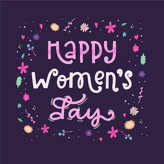 Iscrizione festa della donna con fiori colorati