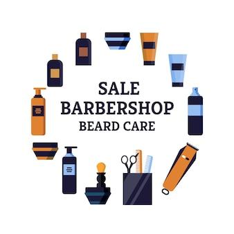 Iscrizione luminosa di cura della barba del barbiere di vendita dell'aletta di filatoio.