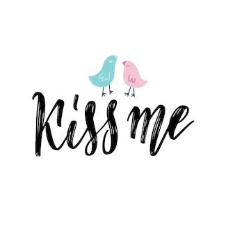Iscrizione scritta a mano citazione vintage con due uccelli in amore