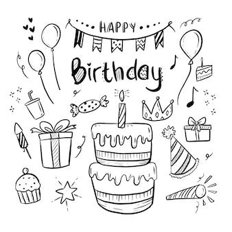 Iscrizione stabilita di buon compleanno e vettore stabilito dell'illustrazione di scarabocchio sveglio del disegno