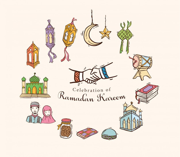 Islamic doodle art impostato per il ramadan kareem