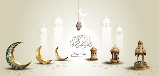 Islamico saluto ramadan kareem card design con mezzelune e lanterne