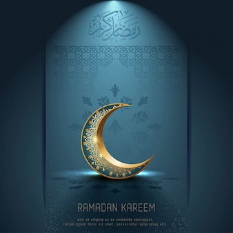 Islamico saluto ramadan kareem card design con ornamento mezzaluna e calligrafia araba