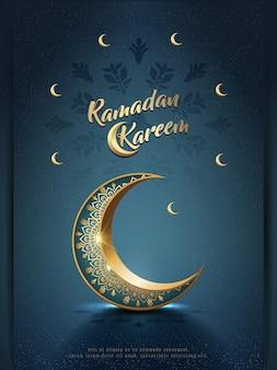 Islamico saluto ramadan kareem card design con ornamento mezzaluna