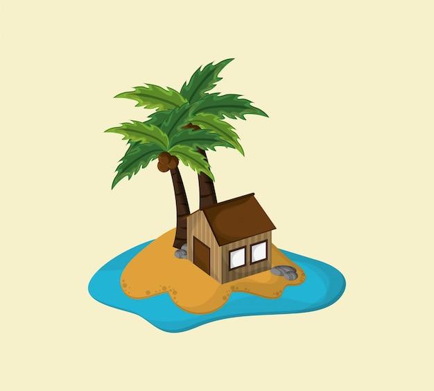 Isola con l'immagine di icone di viaggio di vacanza