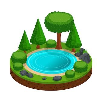 Isola con un piccolo lago foresta, alberi, paesaggio per la creazione di giochi grafici. base colorata per il campeggio