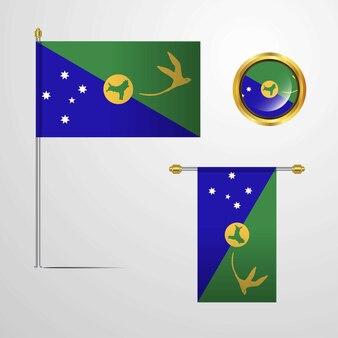 Isola di natale che sventola progettazione della bandiera con il vettore del distintivo