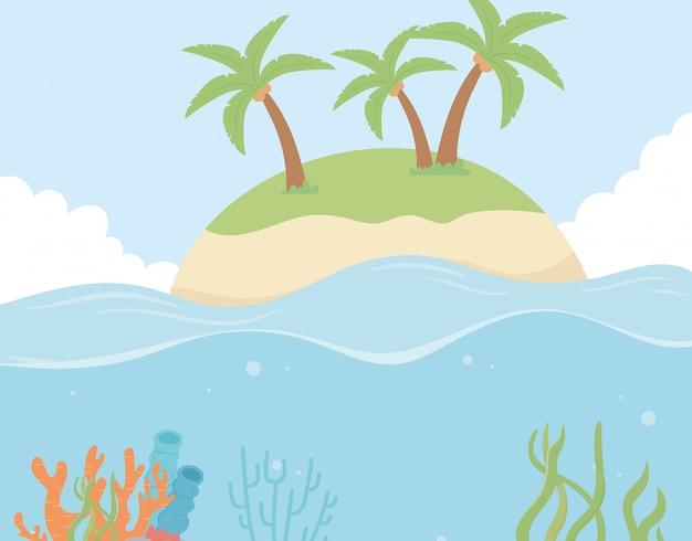 Isola di palme da spiaggia corallo barriera corallina sotto l'illustrazione di vettore del fumetto di mare
