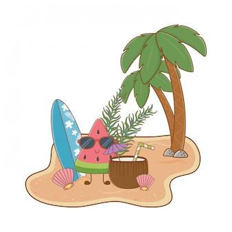 Isola estiva e da spiaggia con simpatico personaggio di anguria