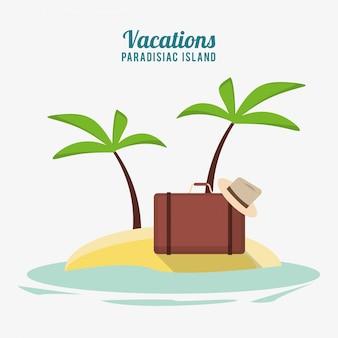 Isola paradisiaca di vacanze degli accessori del cappello della valigia