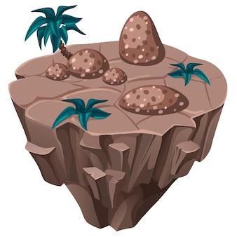 Isola tropicale isometrica con pietre.