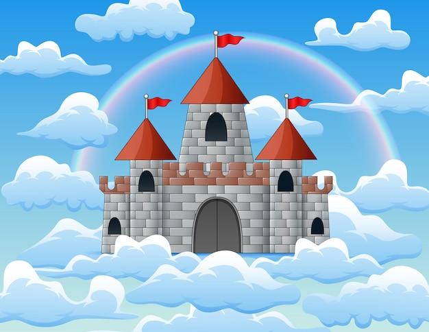 Isola volante di fantasia con castello e arcobaleno nella nuvola
