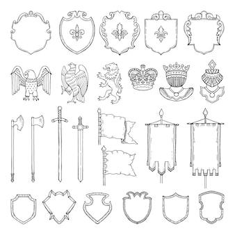 Isolato araldico medievale di simboli su bianco.