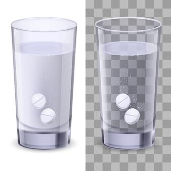 Isolato bicchiere d'acqua e pillole