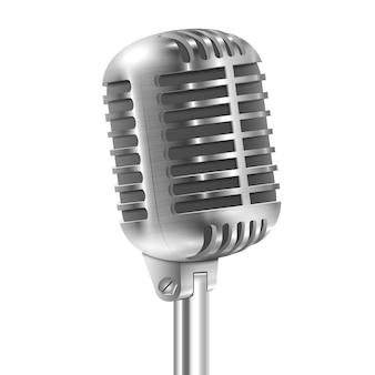 Isolato su bianco retro microfono metallico