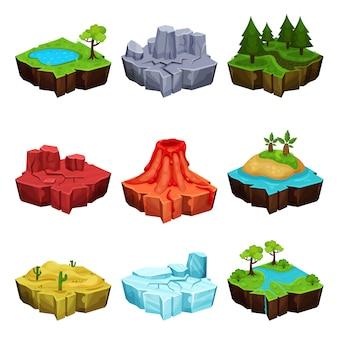 Isole fantastiche per set di giochi, deserto, vulcano, foresta, ghiaccio, posizioni del canyon illustrazioni su uno sfondo bianco