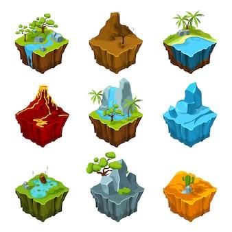Isole isometriche di fantasia con vulcani, diverse piante e fiumi.