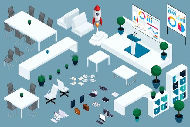 Isometria di qualità, set di mobili per ufficio e start-up aziendale. ottima composizione per la pubblicità e la creazione di interni