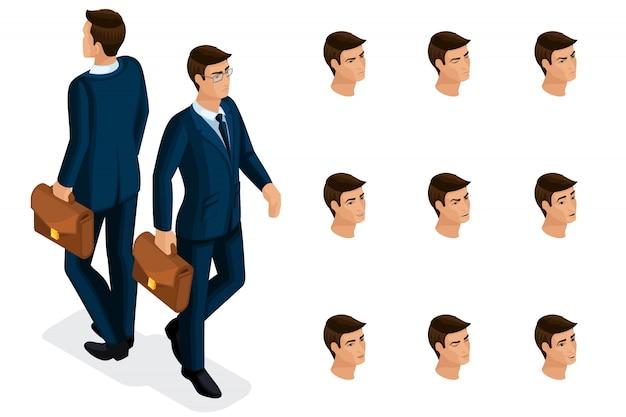 Isometria di qualità, un uomo d'affari con gli occhiali, in un abito elegante e bello. personaggio con una serie di emozioni per la creazione di illustrazioni di qualità